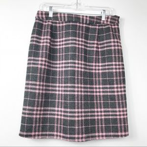 DownEast Skirts - DownEast Grey Pink Plaid Wool Blend Pencil Skirt 8